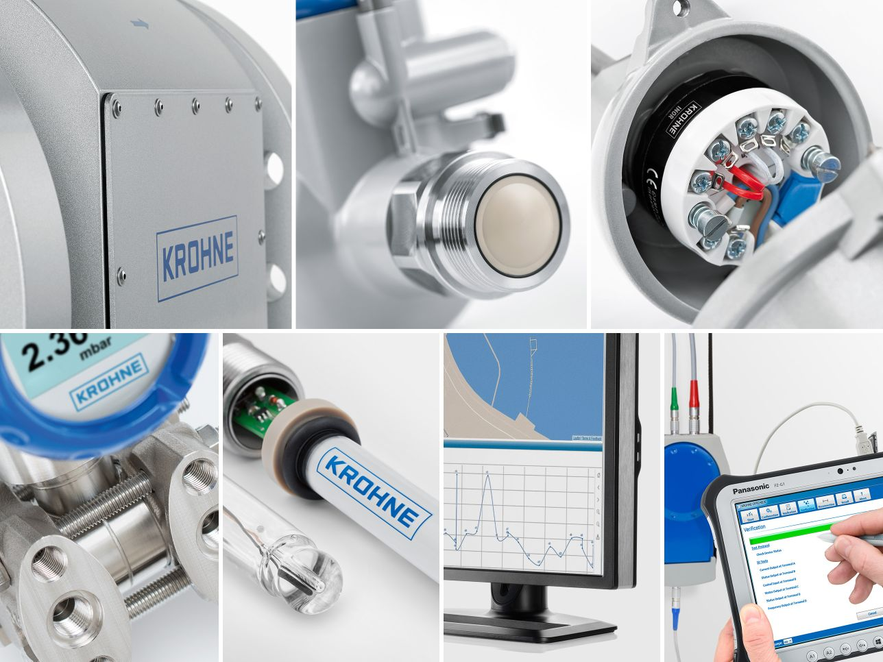 Photo composing of different close ups of krohne products from multiple product categories