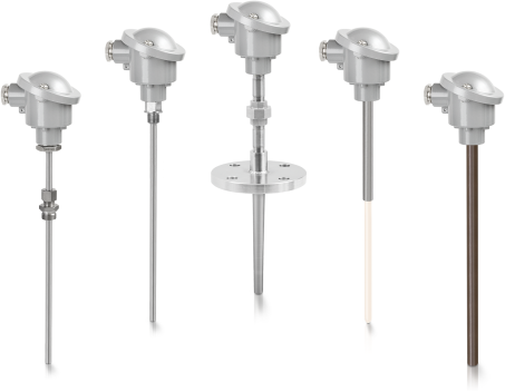 A collection of thermocouple (tc) temperature assemblies from KROHNE
