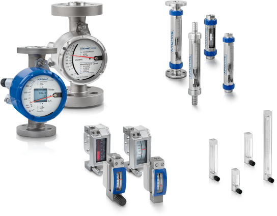 A collection of variable area flowmeters from KROHNE