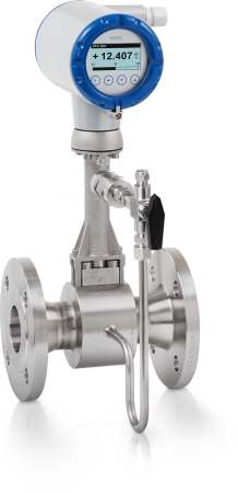 OPTISWIRL 4200 C Vortex flowmeter  – Compact version with integrated pressure / temperature compensation, shut-off valve and flange