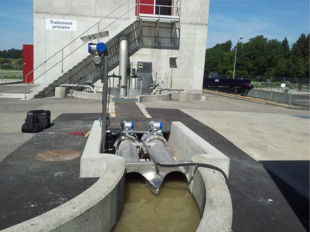 Inlet flow measurement in the open channel of a sewage treatment plant