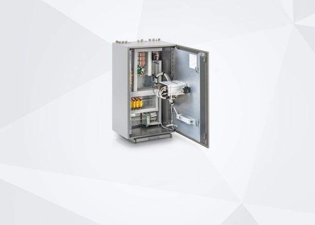 Flow control cabinet open