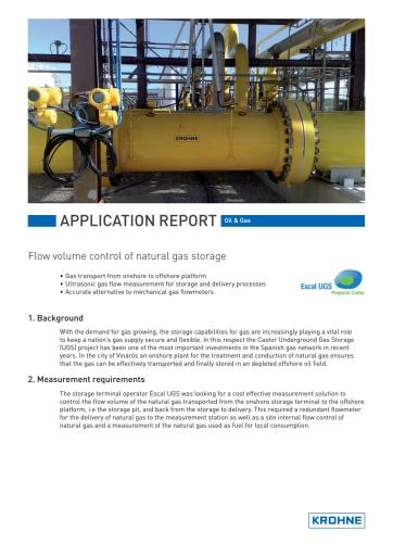 Flow volume control of natural gas storage | KROHNE Group